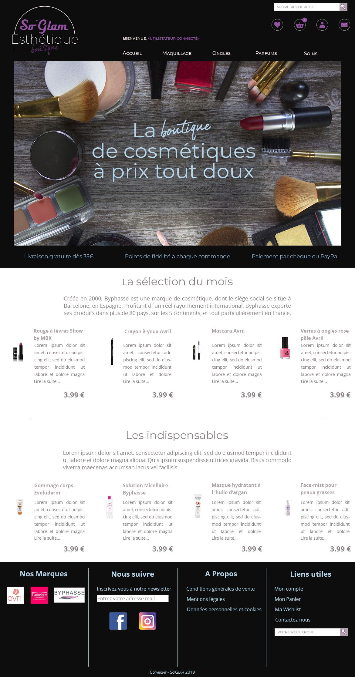 Page Accueil boutique